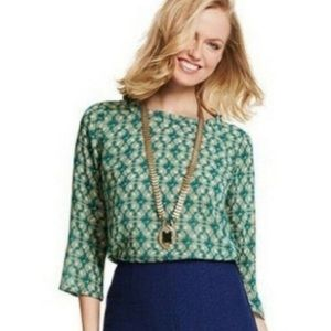 CAbi Jade green printed longsleeve top medium
